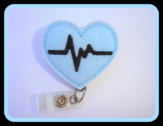 Retractable badge holder nurse badge holder Heartbeat EKG