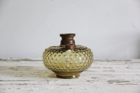 antique hobnail yellow glass oil lantern lamp base