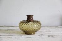 antique hobnail yellow glass oil lantern lamp base