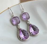Silver Lavender Earrings Lilac Purple Jewelry Teardrop Glass