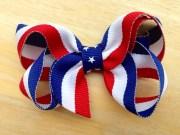 red white & blue hair bow fourth