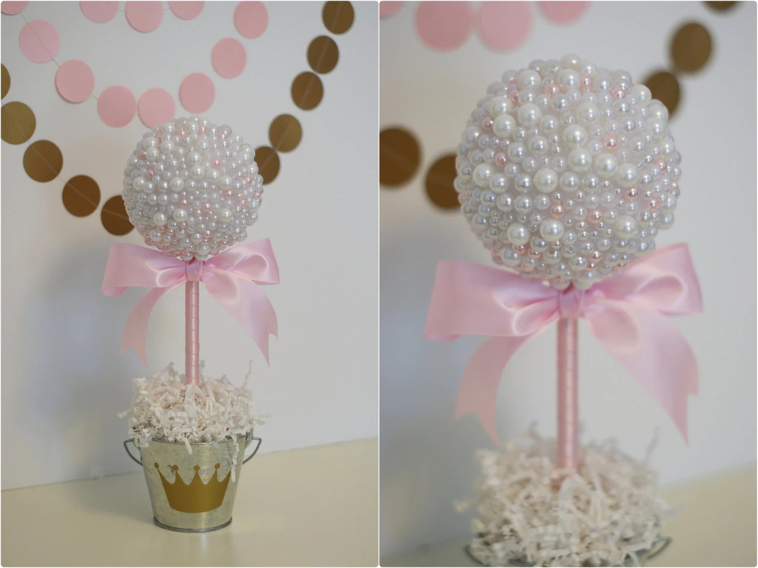 PEARL CENTERPIECES. White & Pink Pearls. Baptism Centerpiece