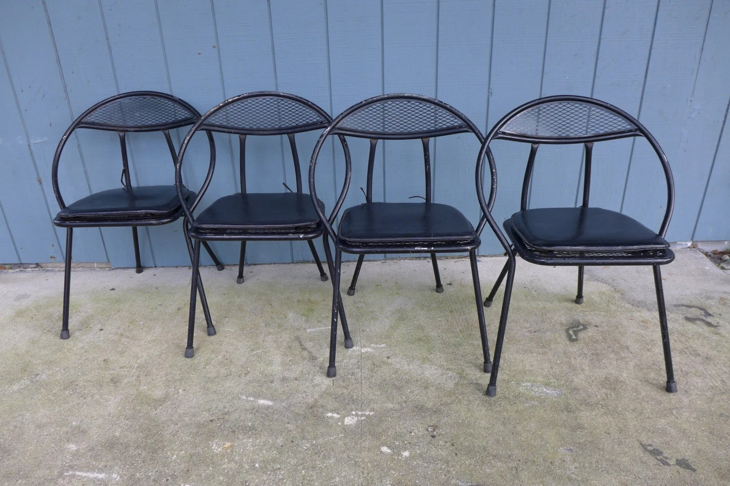 old fashioned metal lawn chairs navy leather chair set of 4 folding patio salterini style by zeejunkhunter