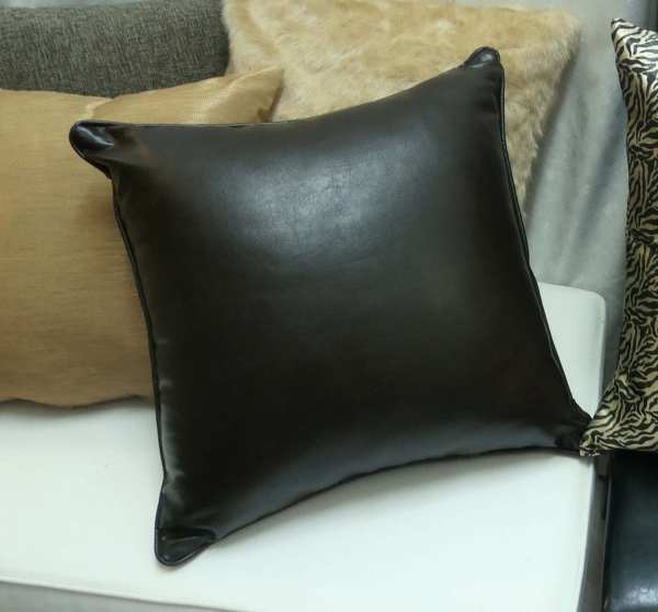 Dark Brown Faux Leather Pillows