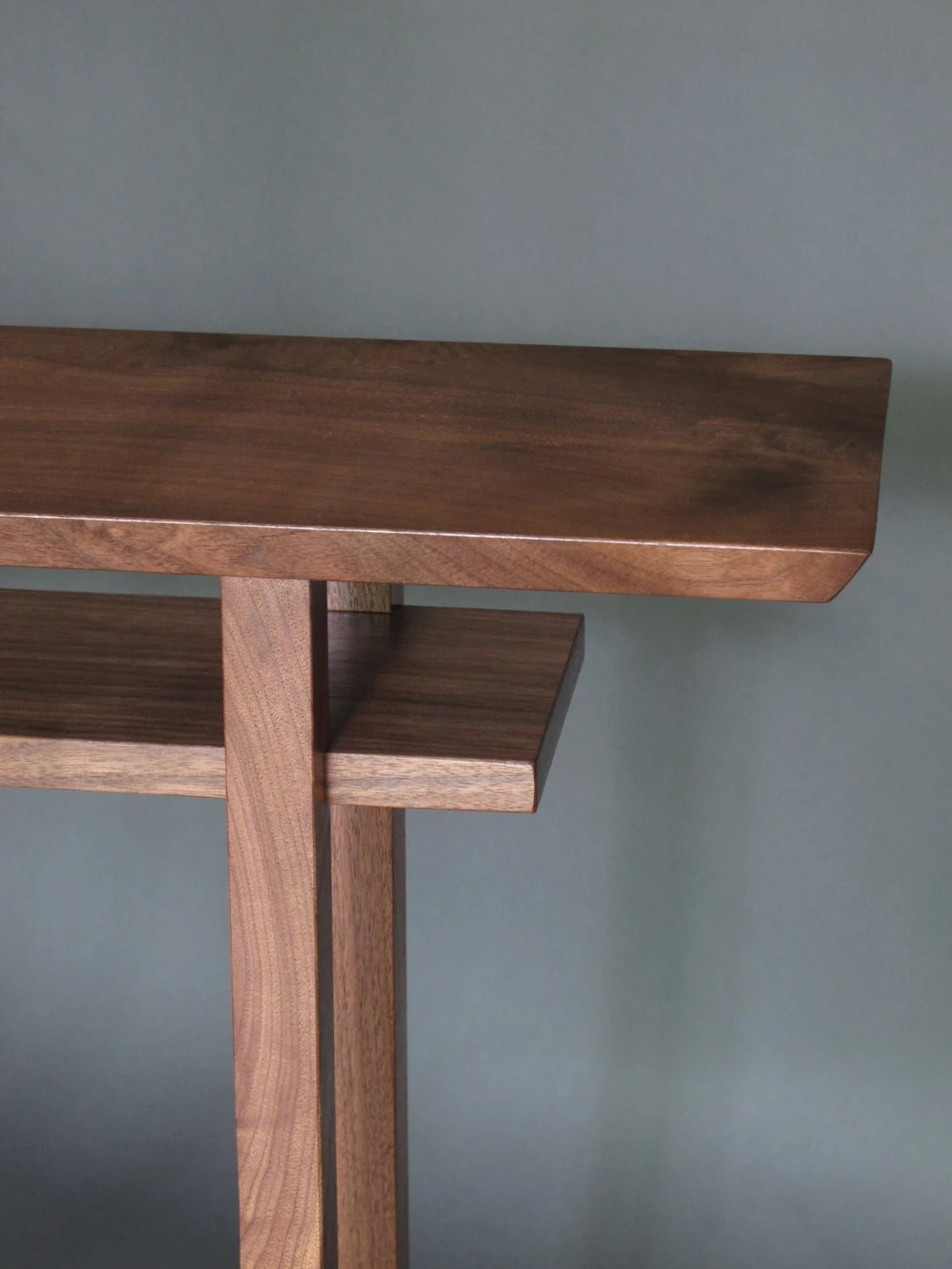 Narrow Walnut Entryway Console Table Modern by