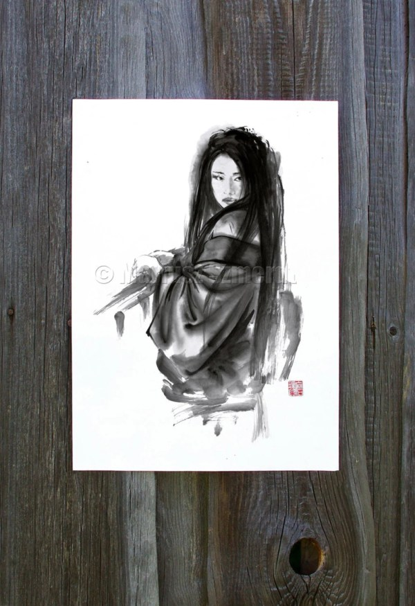 Geisha Japanese Woman Portrait Asian Art Wall Decor Poster