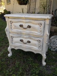 Shabby Chic Old White Distressed French Provincial Nightstand
