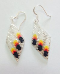 Three feather beaded earrings