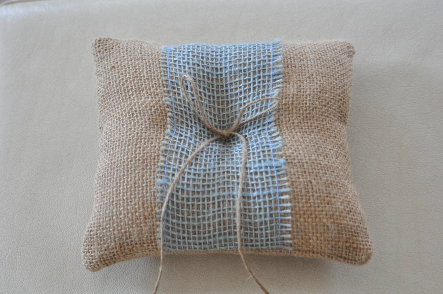 Burlap Chair Cushions Burlap Ring Pillow Blue Burlap Bearer Pillow Ring Cushion Ring