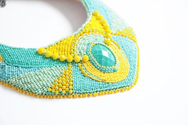 Pastel Teal bohemian necklace boho necklace bib necklace