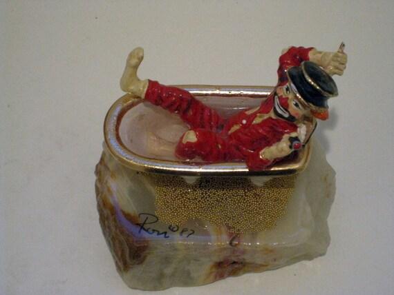 Ron Lee Clown In A Bathtub Figurine 1987