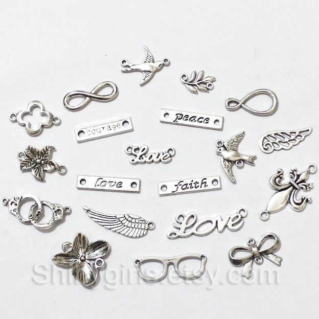 Antique Tibetan silver charm collection / love word charm