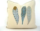 Art pillow cover: appliquéd feathers in aqua and beige for 20-inch insert.