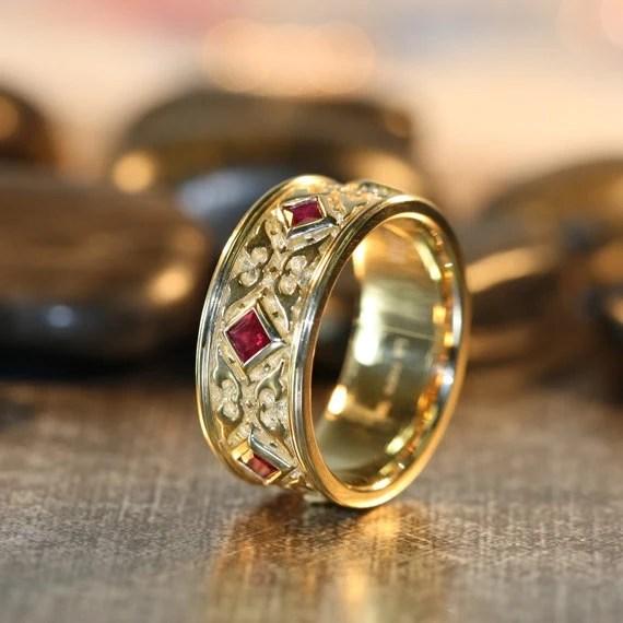 Celtic Wedding Ring Princess Cut Ruby Wedding Band 14k Yellow