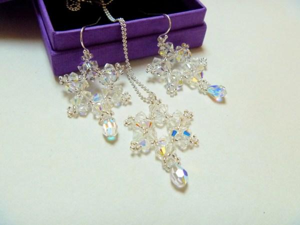 Crystal Snowflake Jewelry Set Women Katieokekejewelry