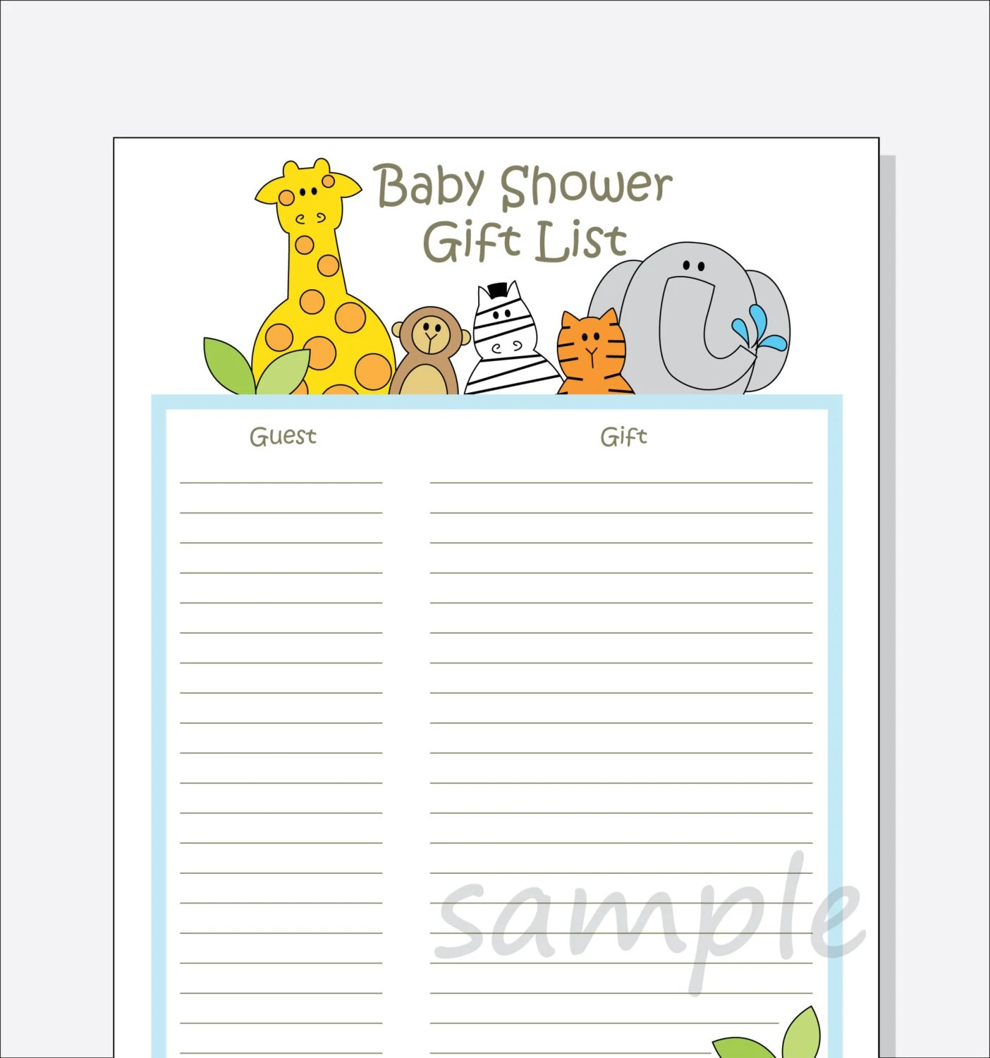 Diy Baby Shower Guest T List Printable Jungle Animals