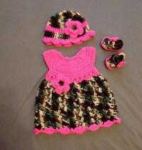 Pink Camo Baby dress crochet gift set Newborn 9 mos.