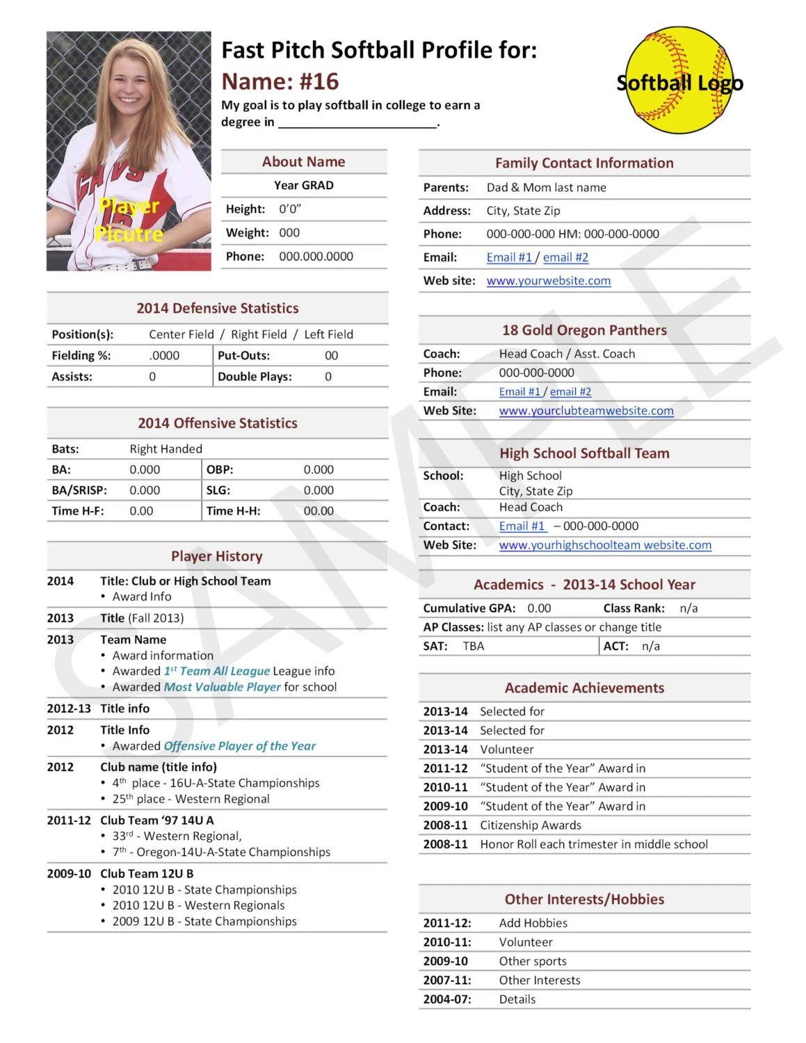 Team Player In Resume Fast Pitch Softball Player Profile Template Used For College