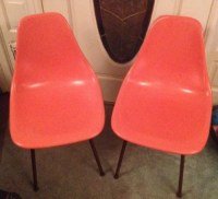 Pair Rare Coral Pink Chromcraft Fiberglass Shell Chairs EAMES