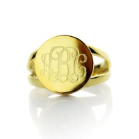Gold Monogram Ring Gold Initial RingEngraved by ...