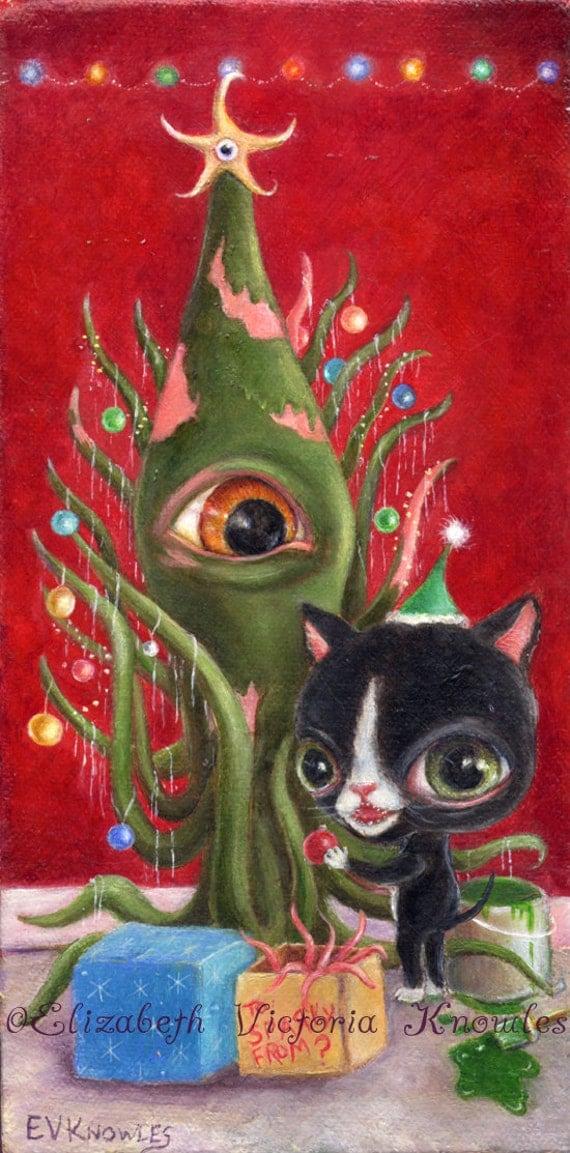 Items Similar To Cat Art Print Squid Art Pop Surrealism
