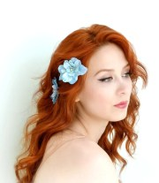 blue flower clips floral hair