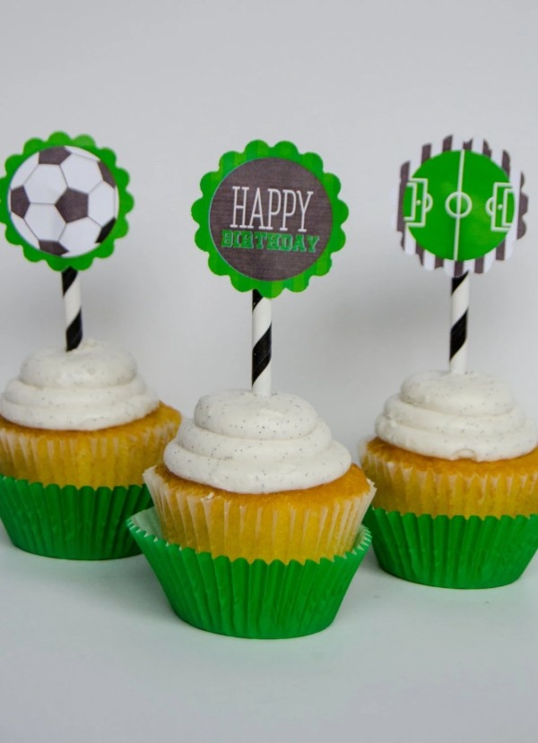 Soccer Printable Party Cupcake Toppers Instant Lovetheday