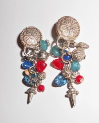 Vintage India Clip on earrings with gemstones and metal Tribal