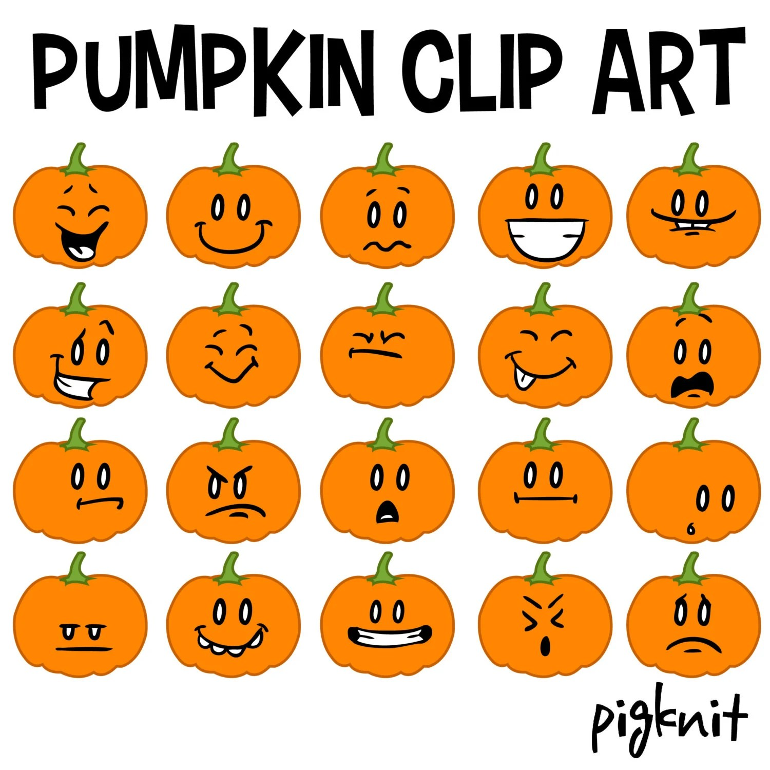 Pumpkin Clip Art Pumpkin Emoticons Pumpkin Faces By Pigknit