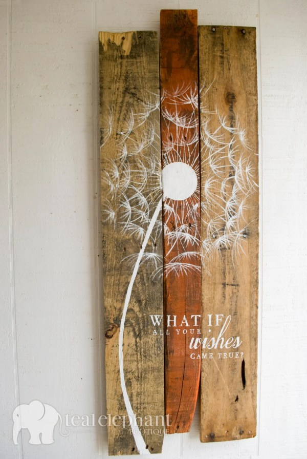 Pallet Art Dandelion Home Wall Hanging Rustic Shabby