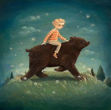 Boy riding a bear - Dream Animals art series