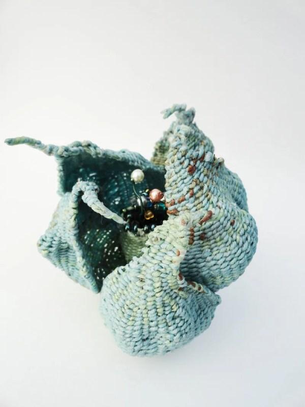 Woven Flower Fiber Art Sculpture Unfolding Soft