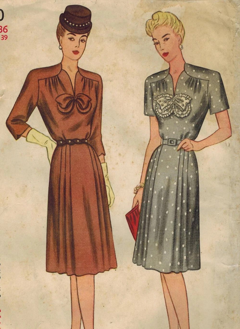 1940s Simplicity 1570 Vintage Sewing Pattern Womens Dress