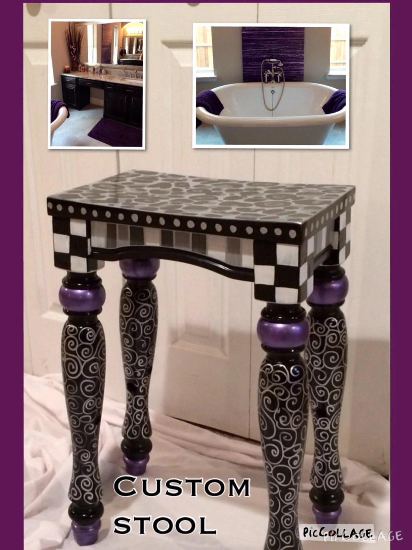 bar stool chair grey bedroom hanging whimsical painted furniture // custom