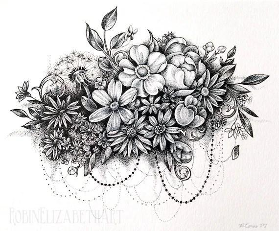 Dotwork fleur nuage stylo et encre pointillé dessin