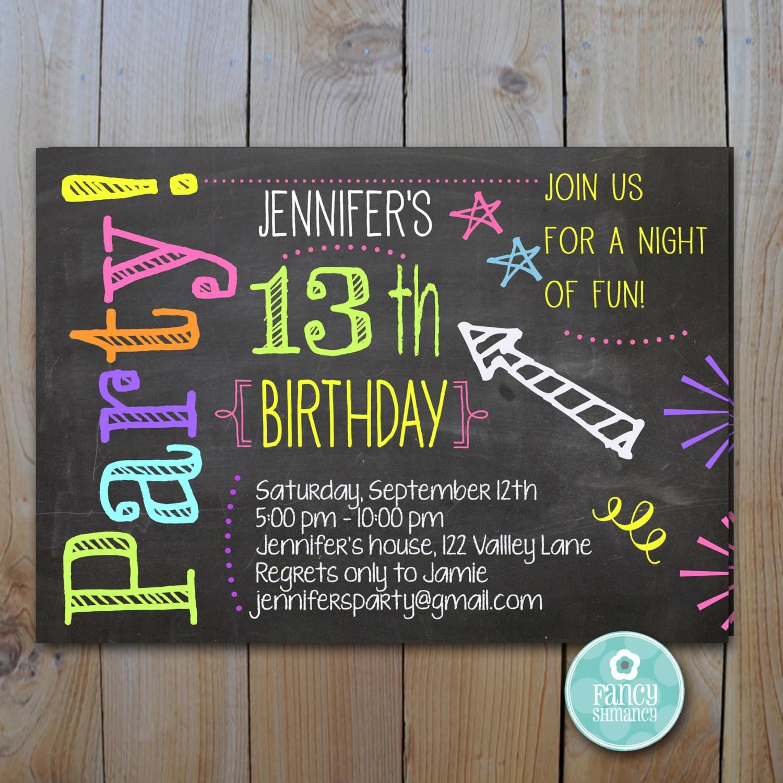 Chalkboard Invitation Teen Birthday Neon Colors Laser Tag