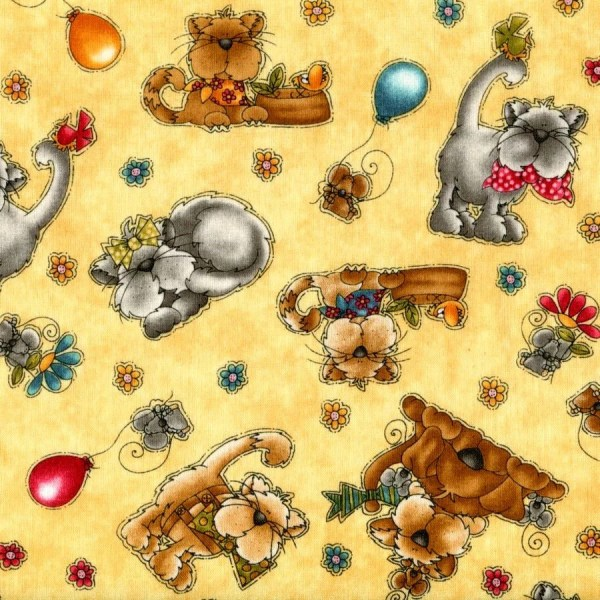 Kitty Kat Kampers Henry Glass Fabric 1 4 Yard
