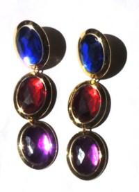 Vintage Jewel Tone Dangle Earrings Pierced Long by ...