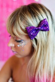 purple glitter hair bow sparkly