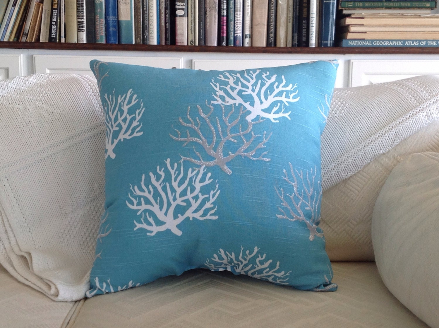 beach themed sofa pillows antique camel back value aqua blue coral throw pillow sea fan house