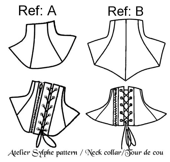 2 Neck collar patterns with back zipper and or back eyelet