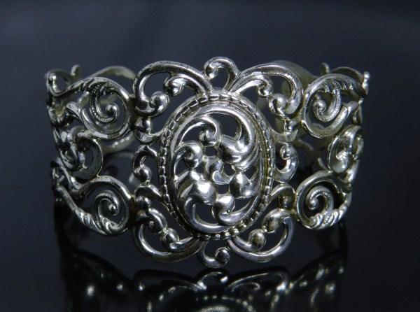 Vintage Danecraft Sterling Repousse Cuff Bracelet