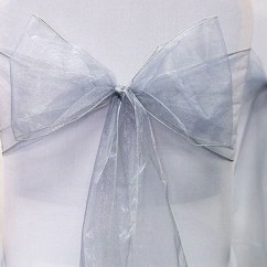 Chair Covers Wedding Costs Wicker Patio Furniture Cushions Sashes Bows Silver Organza