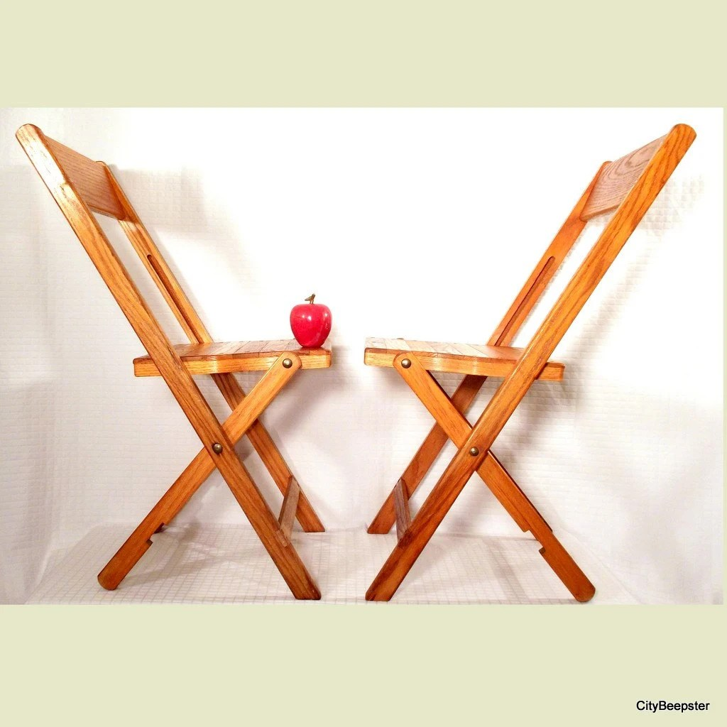 krueger folding chairs hanging swing outdoor vintage wood chair pair snyder co by