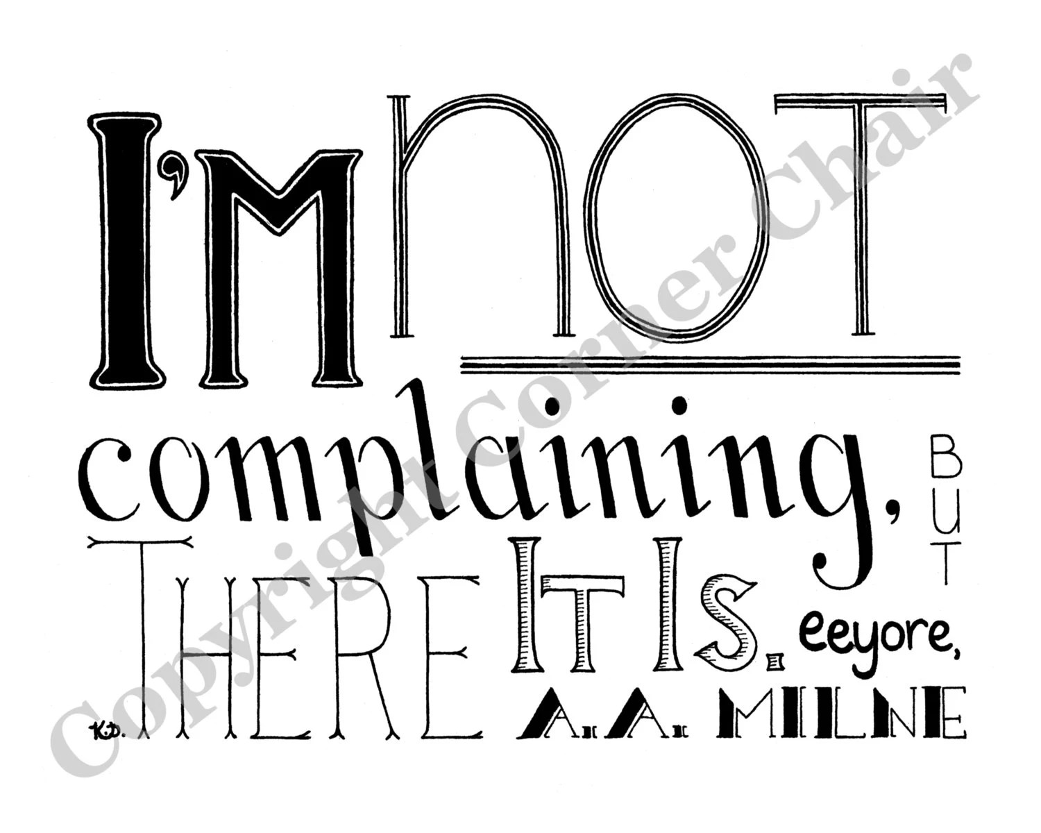 Complaining Embroidery Pattern, Eeyore Quote Embroidery