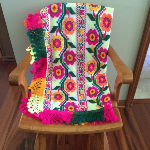 Vintage Mexican Style Embroidered Throw Blanket Neon