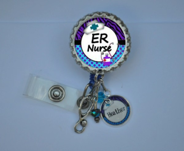 Personalized Er Nurse Badge Reel Choose Charm Id