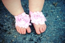 Light Pink Baby Girl Barefoot Sandals Soft Elastic Shoes