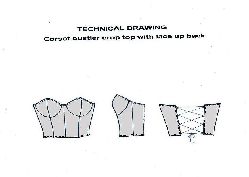 PDF sewing pattern- Reversible corset bustier crop top