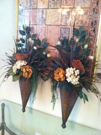 Pair of Large Wall Sconces Wall Pockets Floral Wall Decor
